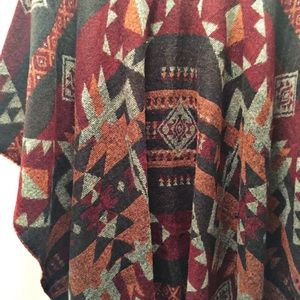 Steve Madden cape, multi color with Aztec pattern